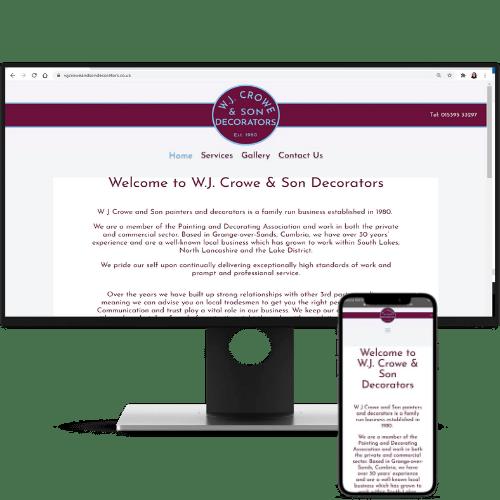 website design wj crowe and son decorators